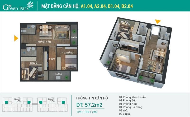 Thiết kế căn 04 dự án Phương Đông Green Park số 01 Trần Thủ Độ