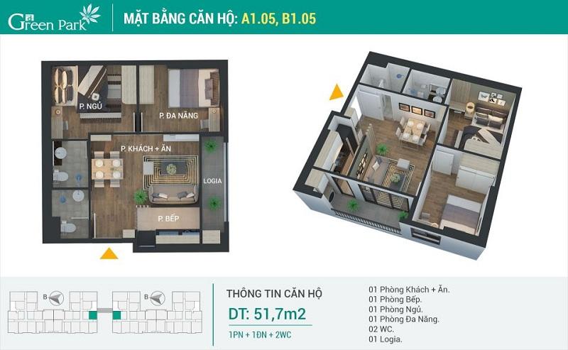 Thiết kế căn 05-A1-B1 dự án Phương Đông Green Park số 01 Trần Thủ Độ