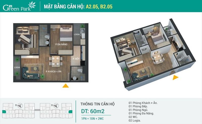 Thiết kế căn 05-A2-B2 dự án Phương Đông Green Park số 01 Trần Thủ Độ