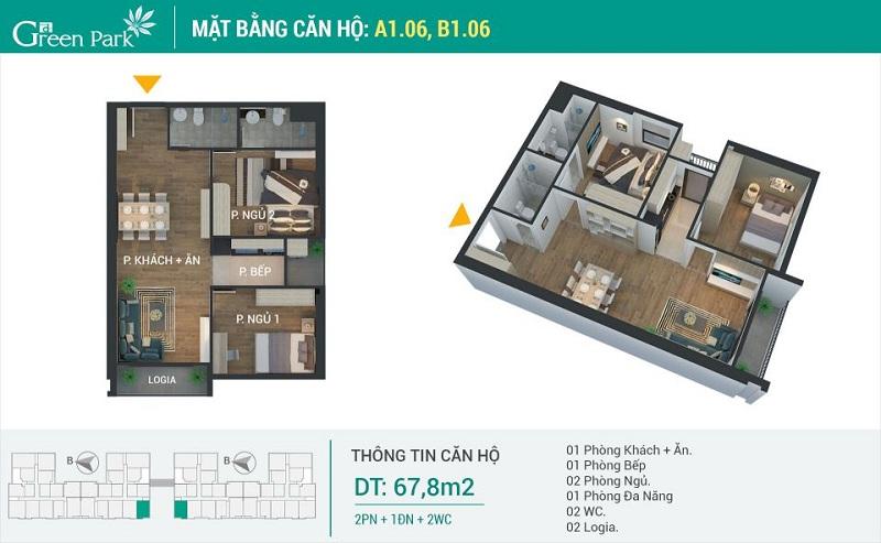 Thiết kế căn 06-A1-B1 dự án Phương Đông Green Park số 01 Trần Thủ Độ
