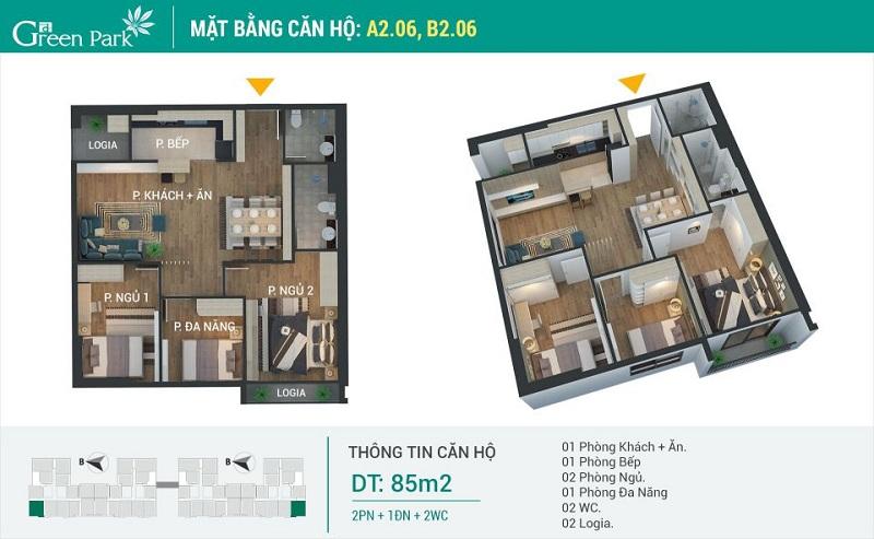Thiết kế căn 06-A2-B2 dự án Phương Đông Green Park số 01 Trần Thủ Độ