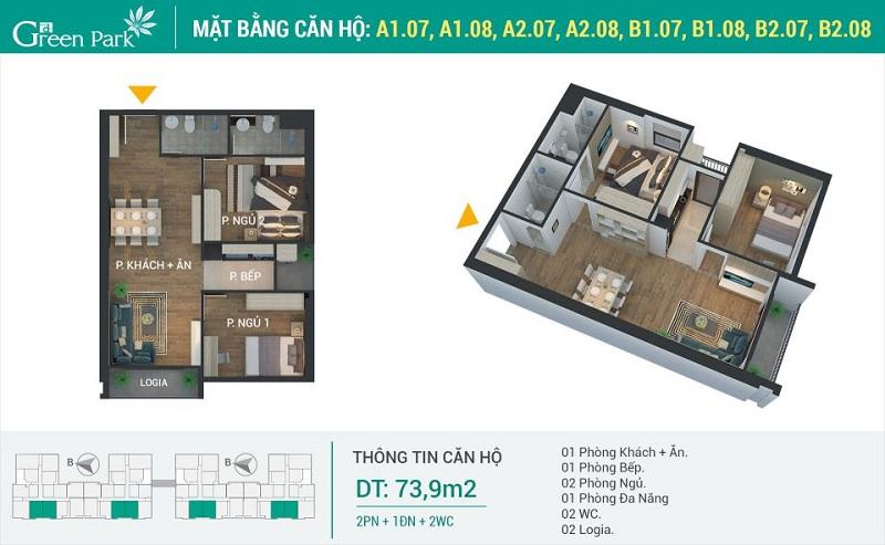 Thiết kế căn 07-08 dự án Phương Đông Green Park số 01 Trần Thủ Độ