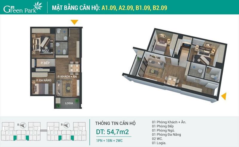 Thiết kế căn 09 dự án Phương Đông Green Park số 01 Trần Thủ Độ