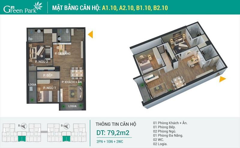 Thiết kế căn 10 dự án Phương Đông Green Park số 01 Trần Thủ Độ