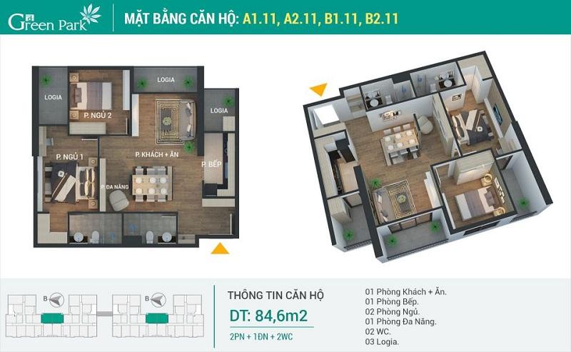 Thiết kế căn 11 dự án Phương Đông Green Park số 01 Trần Thủ Độ