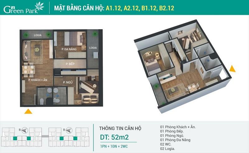 Thiết kế căn 12 dự án Phương Đông Green Park số 01 Trần Thủ Độ