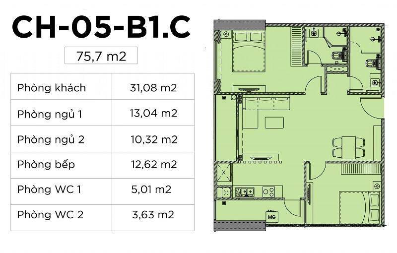 Thiết kế căn hộ 03-04-05-08-10 chung cư Harmony Square 199 Nguyễn Tuân