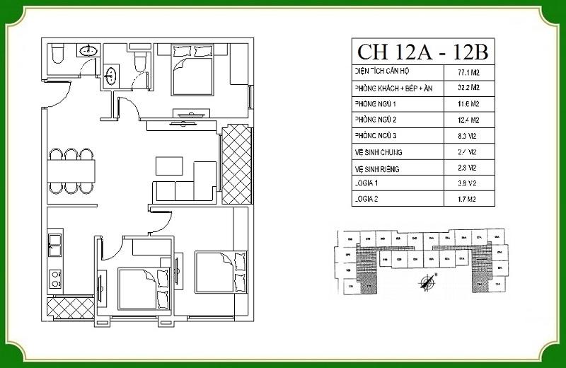 Thiết kế căn hộ 12A-12B chung cư NHS Phương Canh Residence