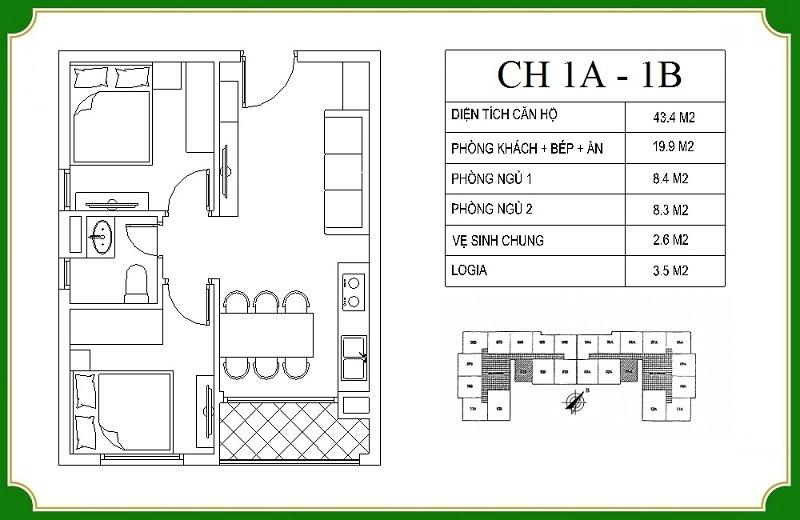 Thiết kế căn hộ 1A-1B chung cư NHS Phương Canh Residence