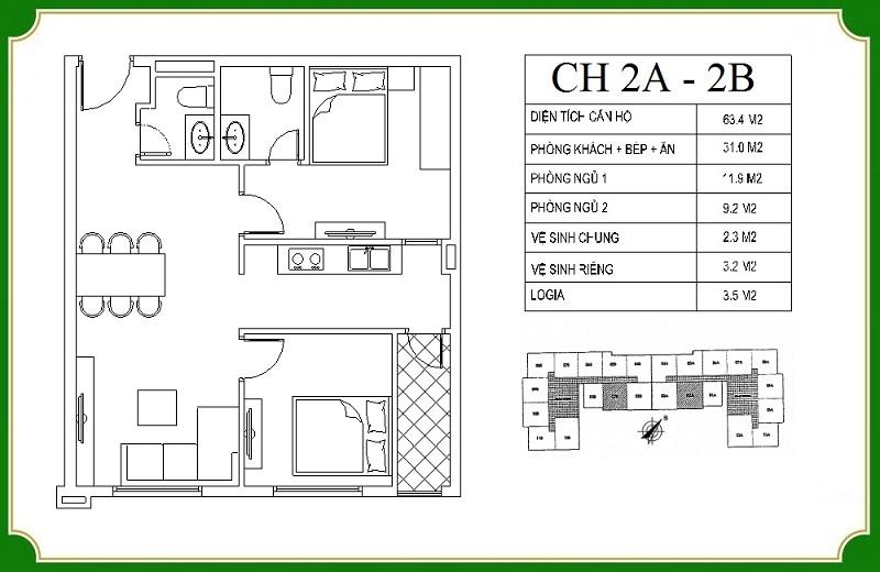 Thiết kế căn hộ 2A-2B chung cư NHS Phương Canh Residence