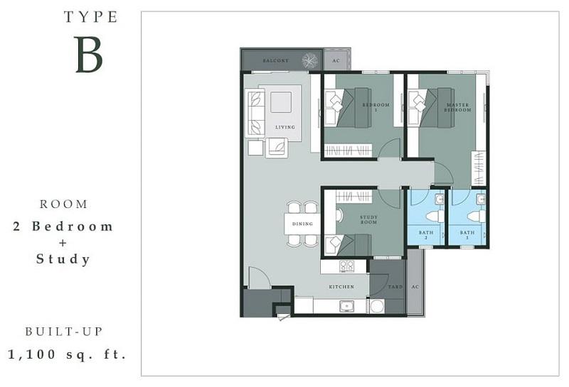 Thiết kế căn hộ 2PN chung cư The Dandelion Residence Gamuda Yên Sở