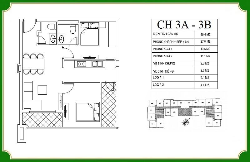 Thiết kế căn hộ 3A-3B chung cư NHS Phương Canh Residence