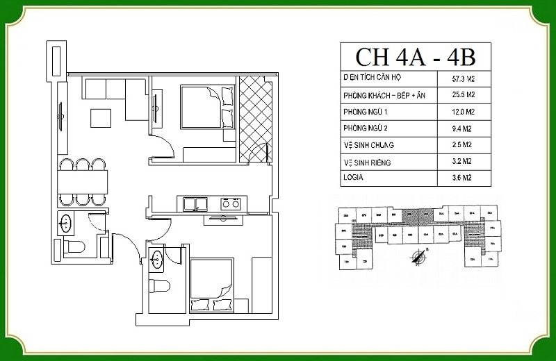 Thiết kế căn hộ 4A-4B chung cư NHS Phương Canh Residence