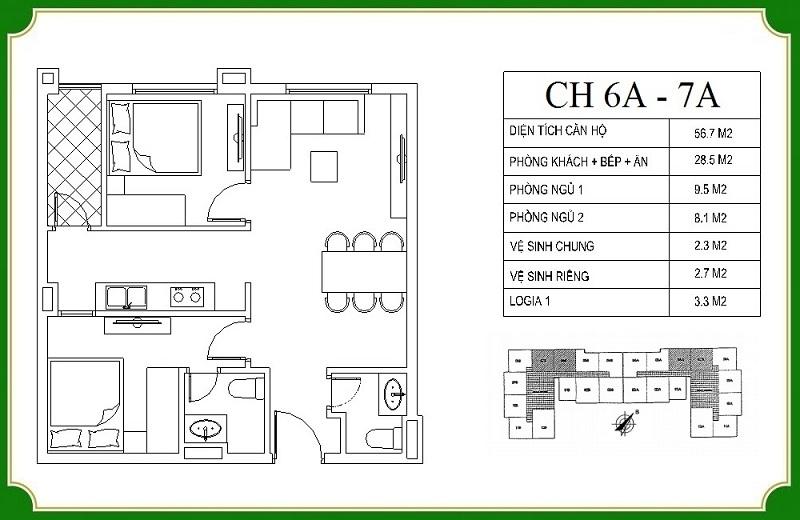 Thiết kế căn hộ 6A-7A chung cư NHS Phương Canh Residence