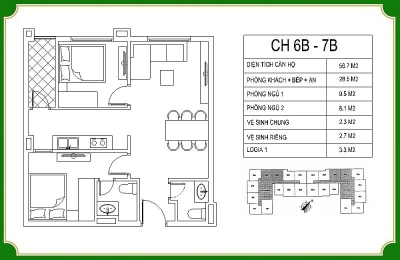 Thiết kế căn hộ 6B-7B chung cư NHS Phương Canh Residence