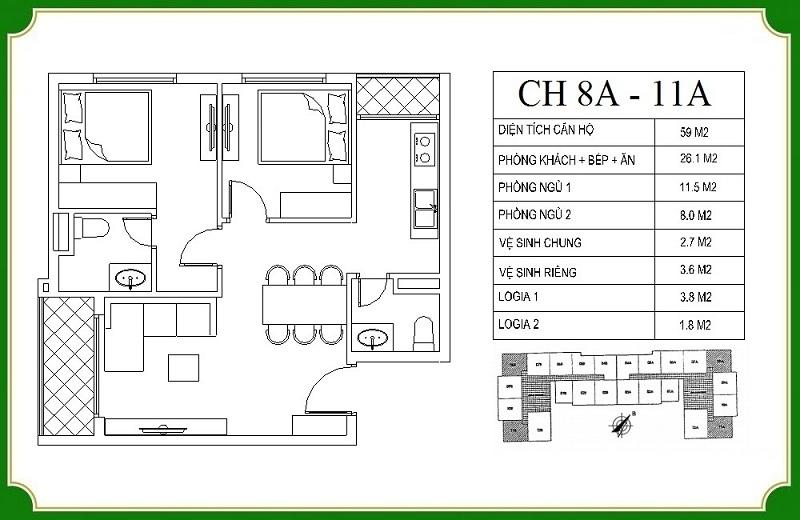 Thiết kế căn hộ 8A-11A chung cư NHS Phương Canh Residence