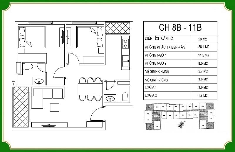 Thiết kế căn hộ 8B-11B chung cư NHS Phương Canh Residence