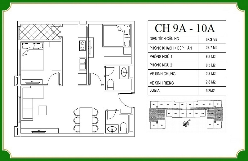 Thiết kế căn hộ 9A-10A chung cư NHS Phương Canh Residence