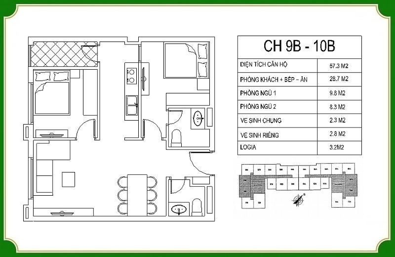 Thiết kế căn hộ 9B-10B chung cư NHS Phương Canh Residence