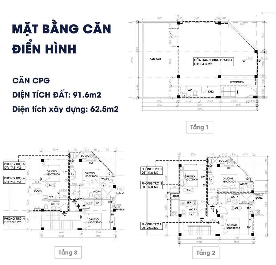 Mẫu thiết kế Shophouse Apec Điềm Thụy Centerpoint Thái Nguyên