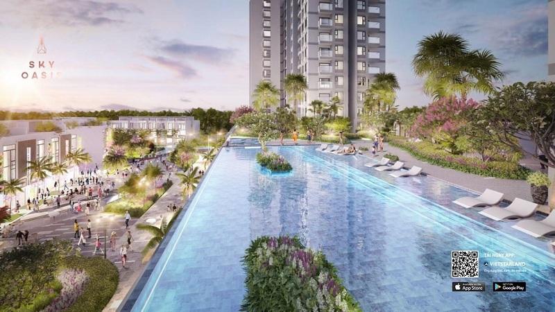 Tiện ích Bể Bơi tầng 3 Sky Oasis KĐT Ecopark