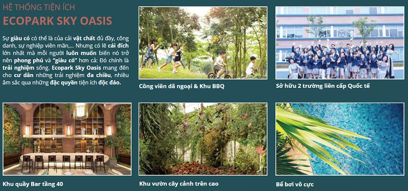 Tiện ích dự án chung cư Sky Oasis Ecopark 2020