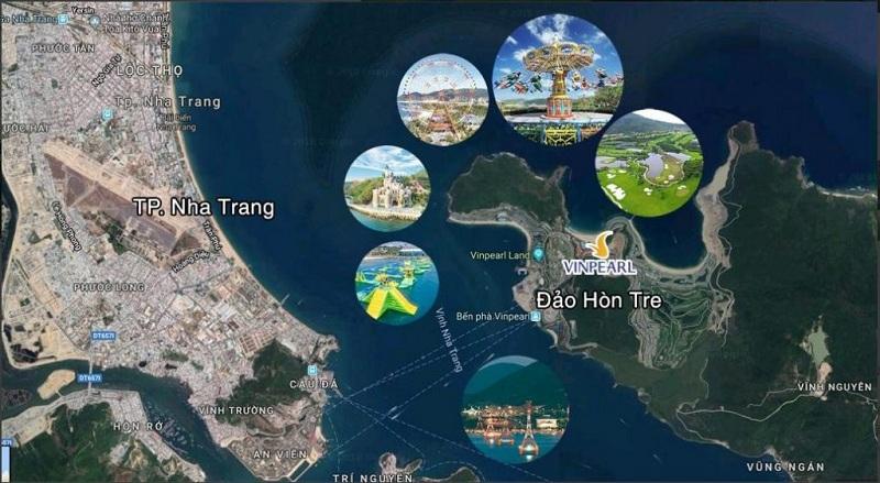 Vị trí của đảo Hòn Tre ở Nha Trang