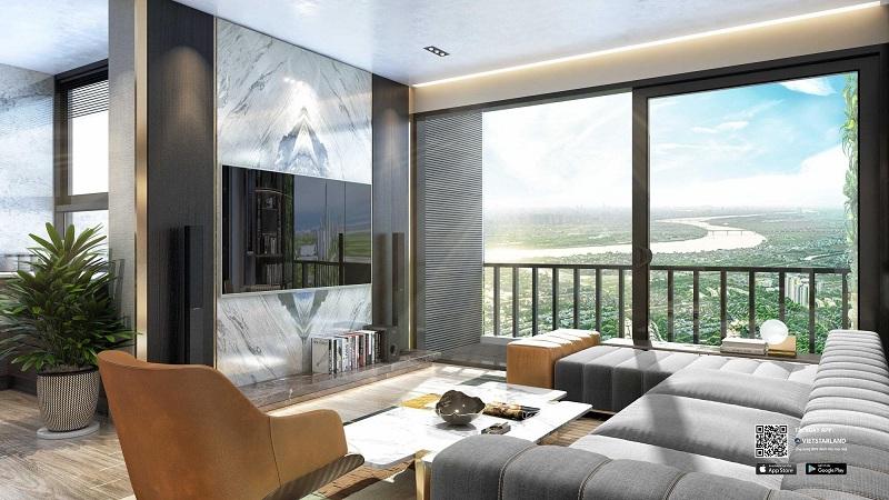 View sông Hồng từ phòng khách chung cư Sky Oasis KDT Ecopark