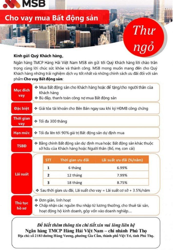 Chính sách Maritime Bank mua nhà khu dân cư Bến Sơn - Yên Lập Riverside