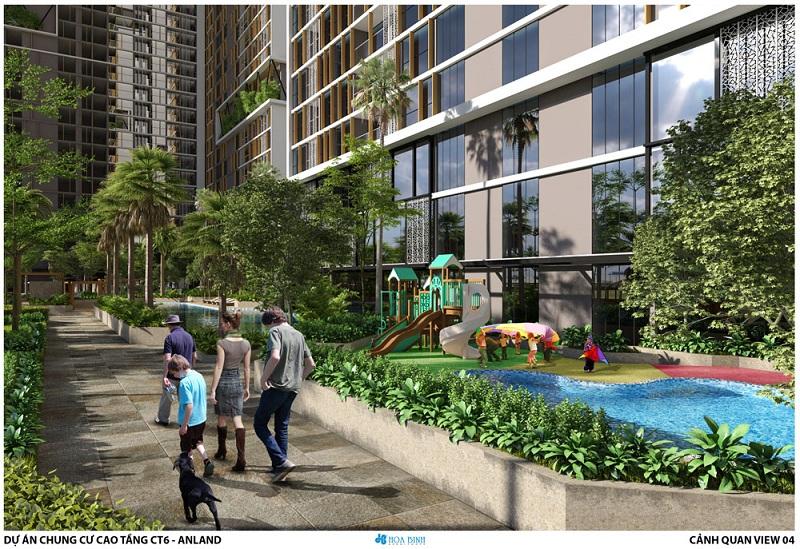 Khuôn viên cây xanh dự án chung cư Anland LakeView Dương Nội
