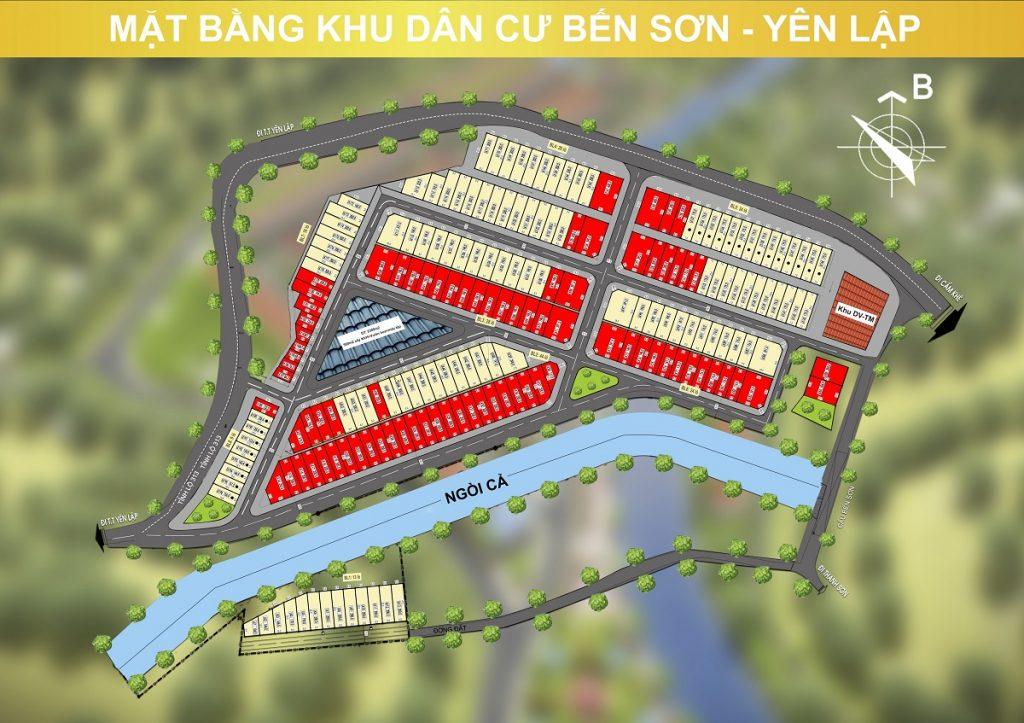 Mặt bằng phân lô khu dân cư Bến Sơn - Yên Lập Riverside - Phú Thọ