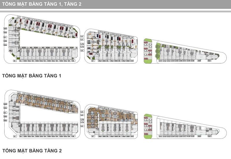 Mặt bằng tầng 1-2 Shophouse Trâu Quỳ - Gia Lâm Central Metropolitan