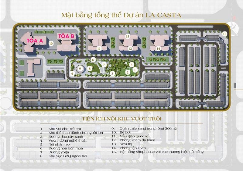 Mặt bằng tiện ích Lacasta Tower Văn Phú - Hà Đông