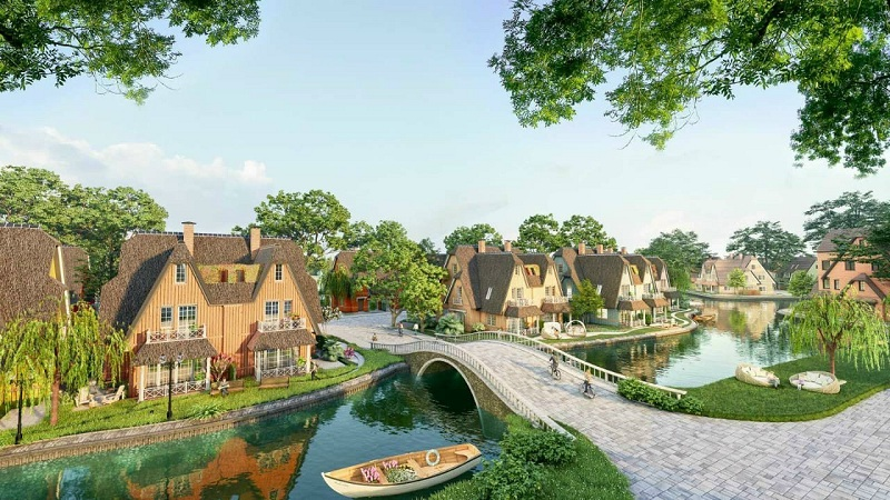 Phối cảnh 1 tiểu khu biệt thự Làng Hà Lan Ecopark