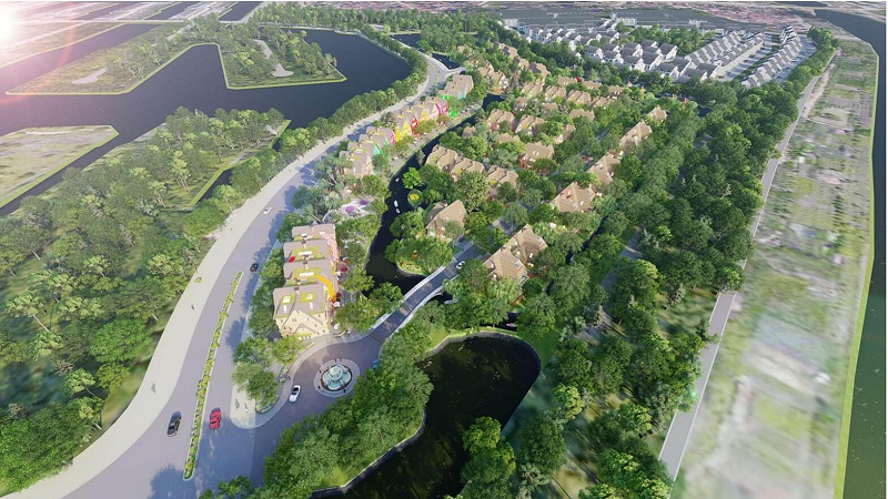 Flycam 2 tiểu khu Làng Hà Lan Ecopark