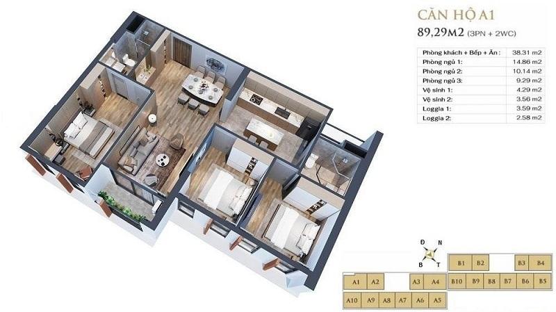 Thiết kế căn hộ A1 dự án chung cư Anland LakeView Dương Nội