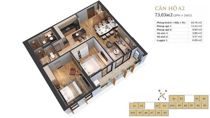 Thiết kế căn hộ A2 dự án chung cư Anland LakeView Dương Nội