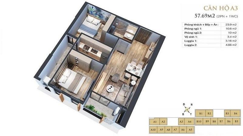 Thiết kế căn hộ A3 dự án chung cư Anland LakeView Dương Nội