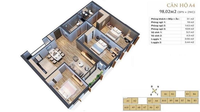 Thiết kế căn hộ A4 dự án chung cư Anland LakeView Dương Nội