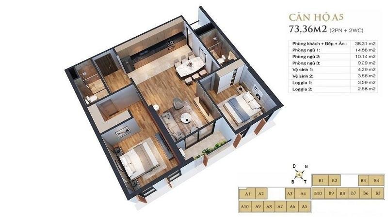 Thiết kế căn hộ A5 dự án chung cư Anland LakeView Dương Nội