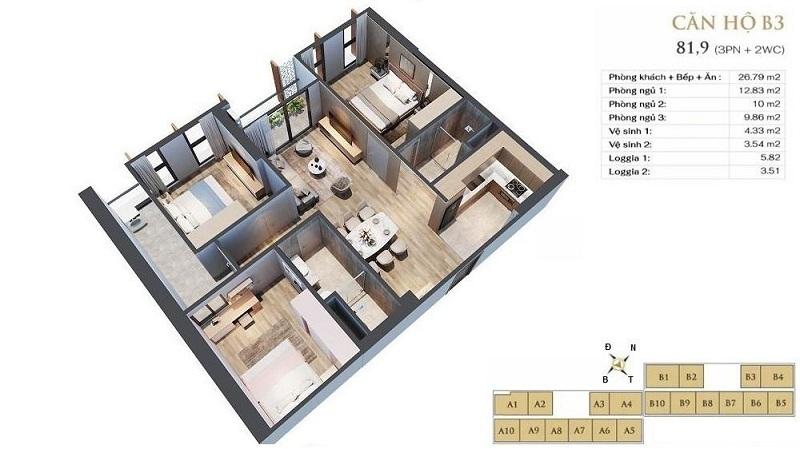 Thiết kế căn hộ B3 dự án chung cư Anland LakeView Dương Nội