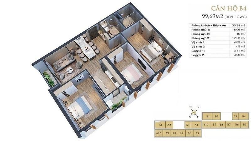 Thiết kế căn hộ B4 dự án chung cư Anland LakeView Dương Nội