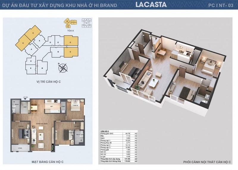 Thiết kế căn hộ C tòa B Lacasta Tower Văn Phú - Hà Đông
