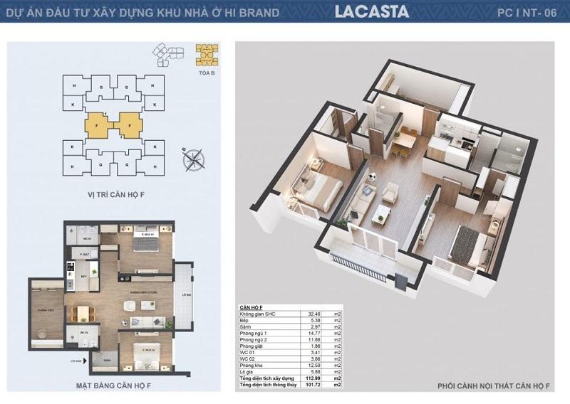 Thiết kế căn hộ F tòa B Lacasta Tower Văn Phú - Hà Đông