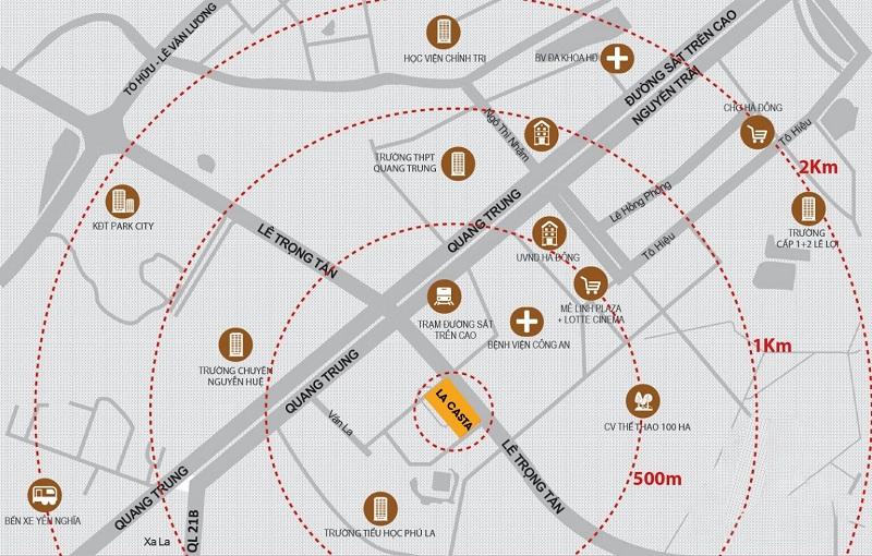 Vị trí Lacasta Tower Văn Phú - Hà Đông