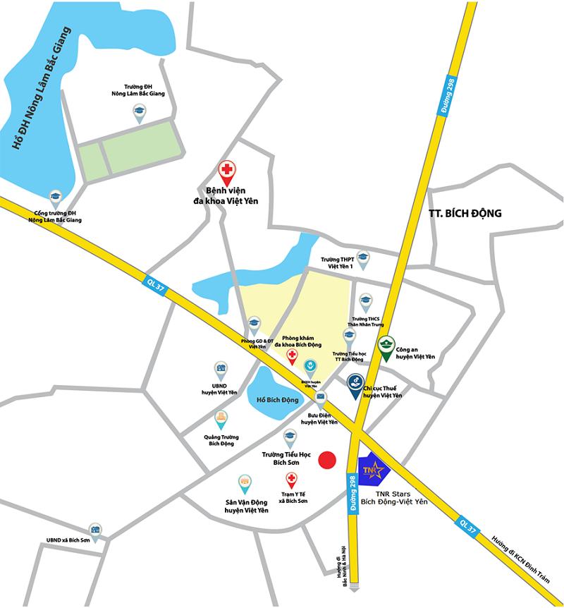 Vị trí dự án Khu đô thị TNR Star Bích Động - Việt Yên - Bắc Giang