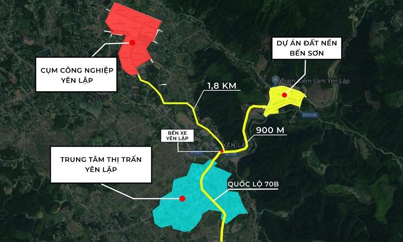 Vị trí khu dân cư Bến Sơn - Yên Lập Riverside - Phú Thọ
