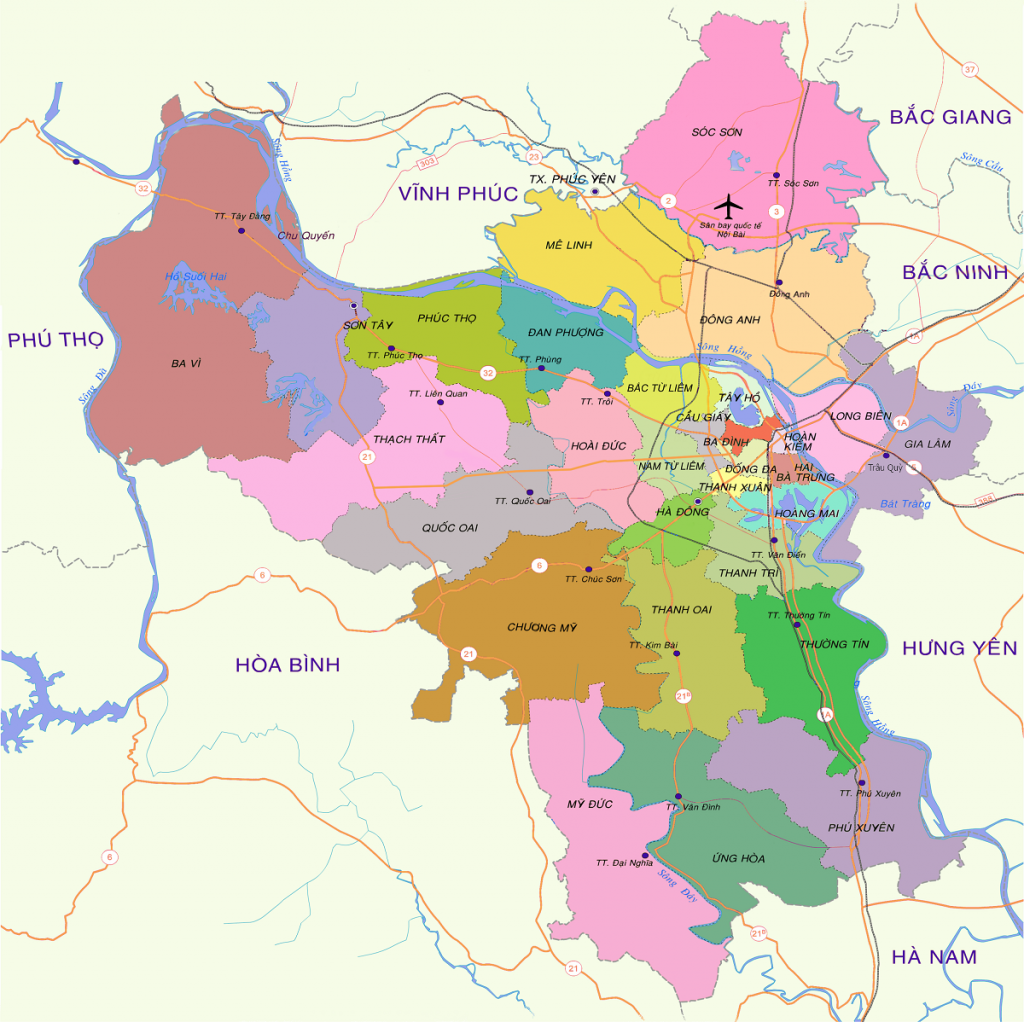 Bản đồ hành chính các quận huyện Hà Nội