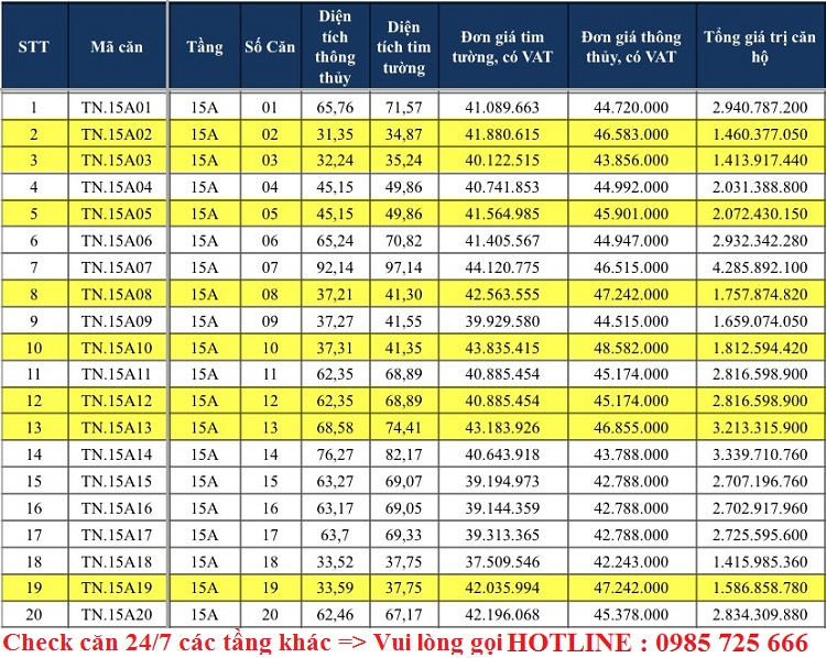 Bảng giá tầng 15A dự án TNR The Nosta 90 Đường Láng