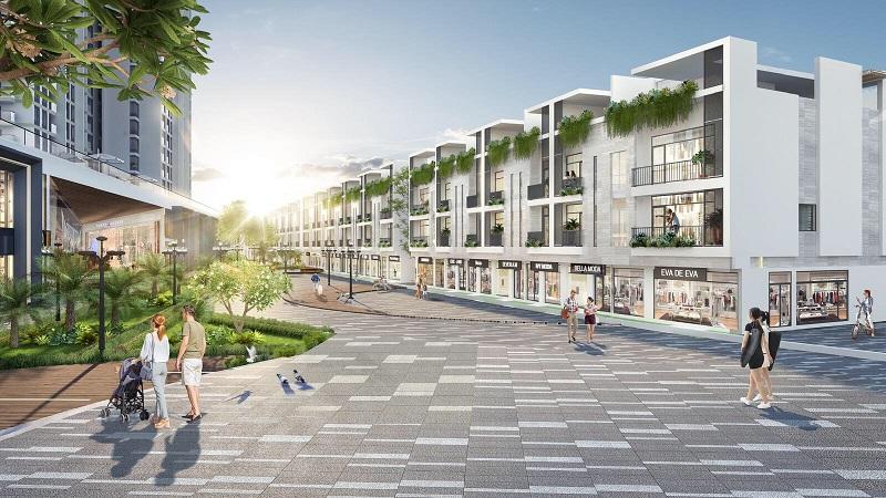 Phố đi bộ phân khu nhà phố thương mại vịnh đảo Ecopark